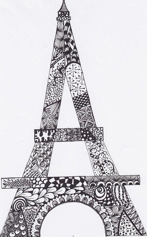 Eiffel Tower Drawing Original Abtract PDF by MyCreeksideStudio, $5.00