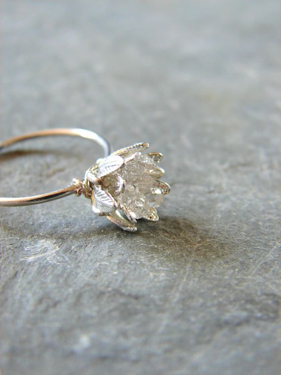 Raw Herkimer Diamond Ring, Lotus Flower Jewelry, Size 6 Engagement Ring, Rough Crystal Ring, Wife Anniversary, Promise Ring for Girlfriend