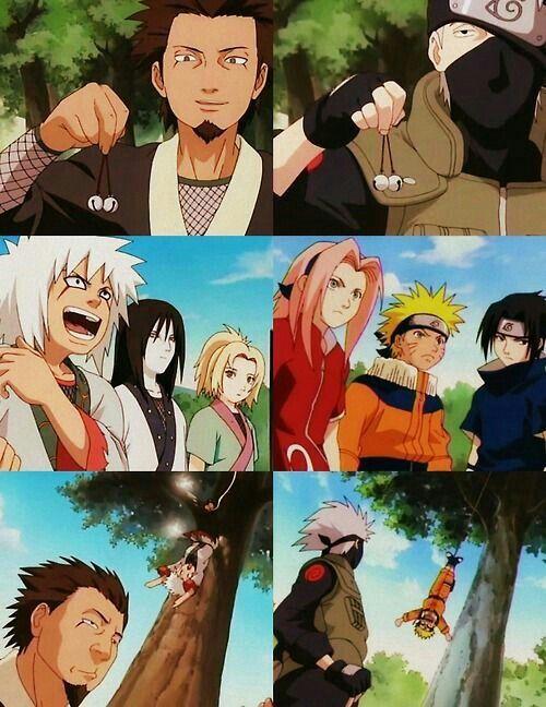 Team Sarutobi, Hiruzen, Jiraiya, Orochimaru, Tsunade, Team Kakashi, Naruto, Sasuke, Sakura, bell test, trap, funny, comic; Naruto