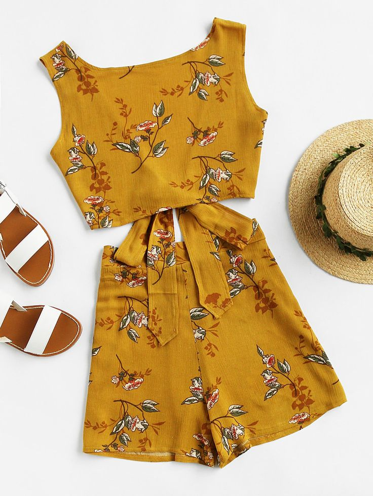 Floral Print V Back Tie Multiway Top With Shorts -SheIn(Sheinside)