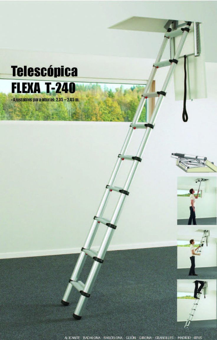 Escalera plegable y escamoteable telesc pica para techo for Escaleras plegables de aluminio para altillos