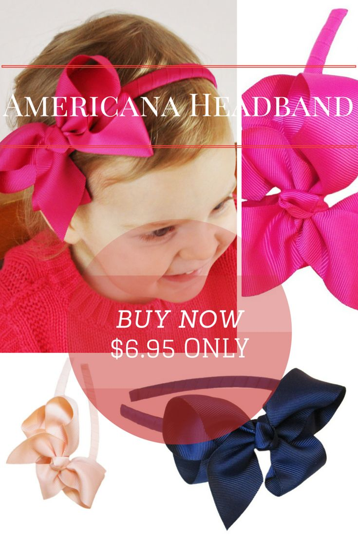 Americana Headband  These adorable and chic grosgrain ribbon wrapped headbands with our Americana Bow are the perfect accessory for ages 2 and up.  A very trendy and stylish boutique hair bow with knotted center and high quality grosgrain ribbon for every girl's hair accessory collection!  Comes in a variety of colors: white, light pink, fuchsia, black, ultra-violet, navy, aqua, peach and grey