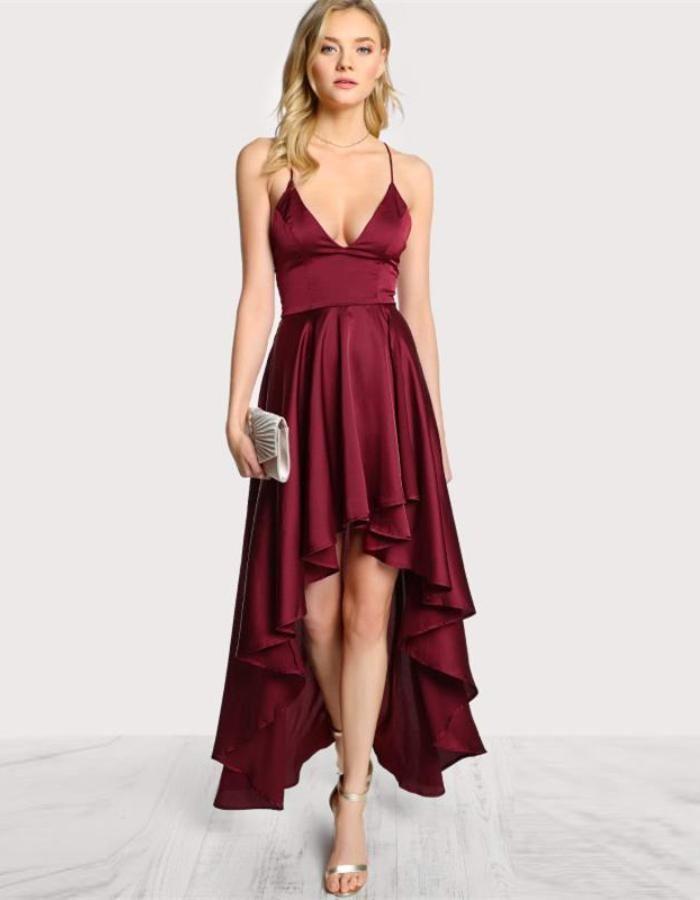 8cd6a838055 Women s Burgundy Hi Low Flowing Dress