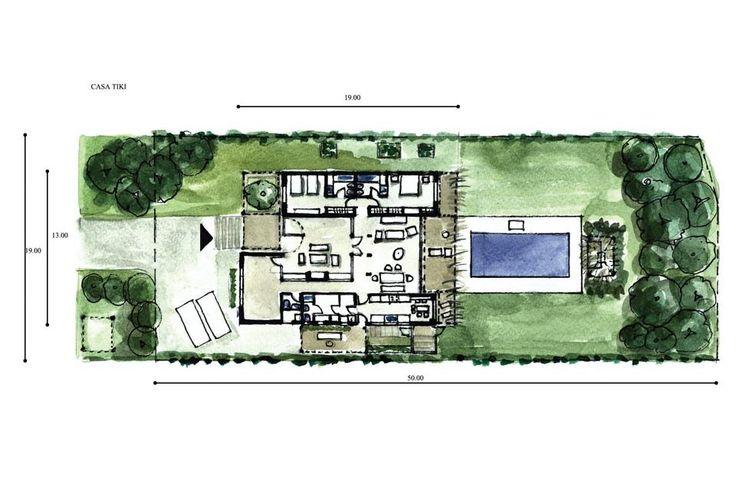 Proyectada en una sola planta, la vivienda se compone de dos tiras: la que corresponde a los dormitorios al Este y la de los servicios al Oeste. El planteo permitió alinear hacia el centro las áreas sociales: el patio de recepción, el living-comedor, el deck y la pileta sucesivamente.  /Santiago Ciuffo