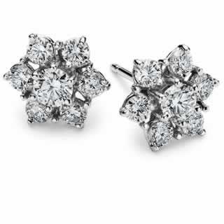 Diamond Flower Stud Earrings in 9K White Gold (0.66ct tw)
