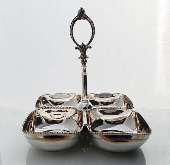 NEW Sterling Silver quartet  bowl handcarved with vintage
