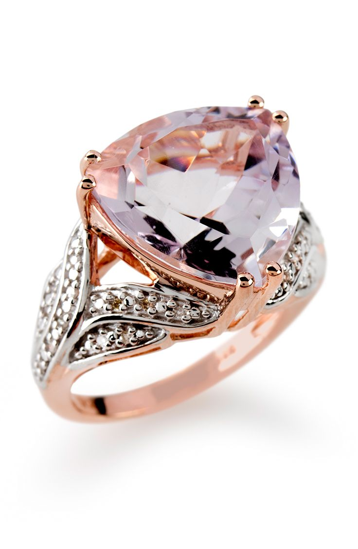 900ct Orchid Amethyst With 08ctw Diamond Accents 18k Rose Gold Over  Silver Ring