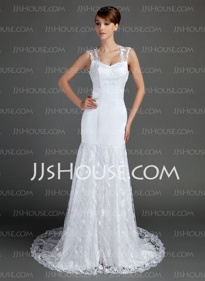 Wedding Dresses - $226.99 - Mermaid Sweetheart Chapel Train Satin Wedding Dress With Lace (002015699) http://jjshouse.com/Mermaid-Sweetheart-Chapel-Train-Satin-Wedding-Dress-With-Lace-002015699-g15699