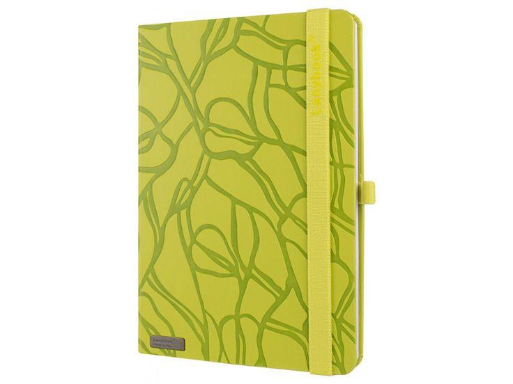 Moderní zápisník Lanybook ve žlutozeleném provedení, elastickým Lanybandem a poutkem pro Vaše oblíbené pero.