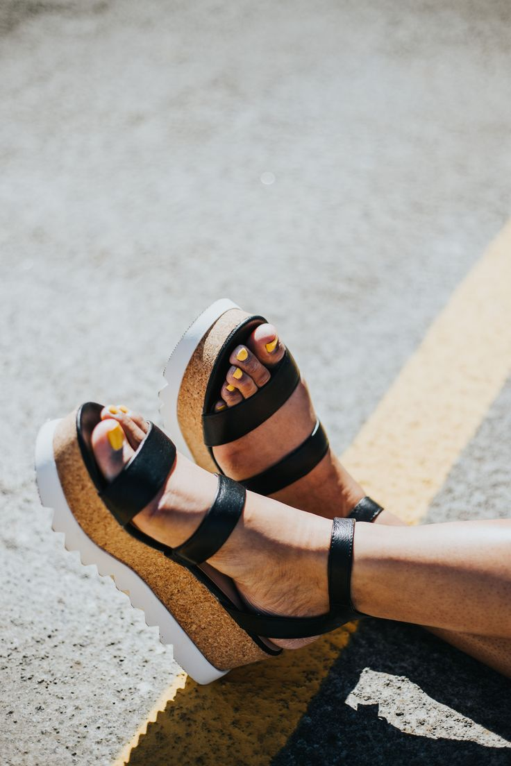 Steve Madden Kirsten black, cork, and white stacked flatform platform  sandals, with ankle