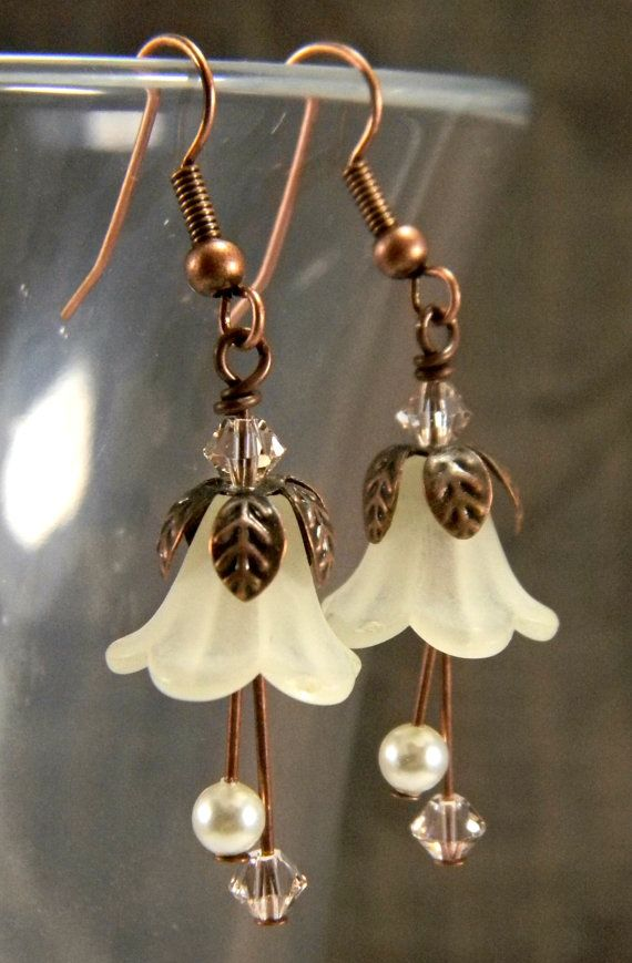 Sepia Fairy Earrings  Ivory Swarovski Pearls & by OrionOctober, $10.00