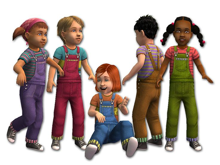 Mod The Sims - Long Overalls for Toddlers