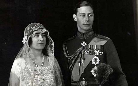 The Duke of York, later King George VI, and Lady Elizabeth Bowes Lyon - later Queen Elizabeth the Queen Mother's wedding, 26 April 1923, where they used a Welsh gold ring.