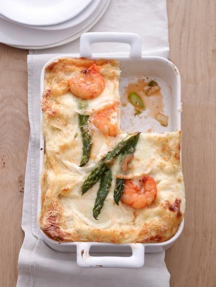 Rezept: Spargel-Lasagne mit Riesengarnelen