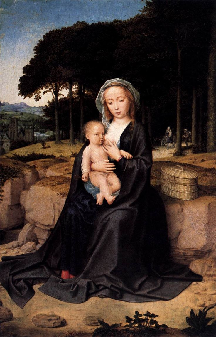 A Rest During the Flight to Egypt, 1510-1515 - Gerard David. oil on wood.