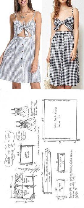 Vestido de amarrar na frente e saia franzida | DIY - molde, corte e costura - Marlene Mukai