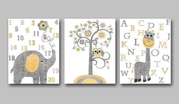 Baby Boy Nursery art print Children Wall Art Baby Room Decor Kids Print set of 3 8x10 nursery alphabet nursery elephant giraffe yellow grey