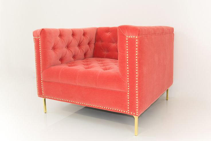 Hollywood Chair In Coral Velvet Modshop Currently