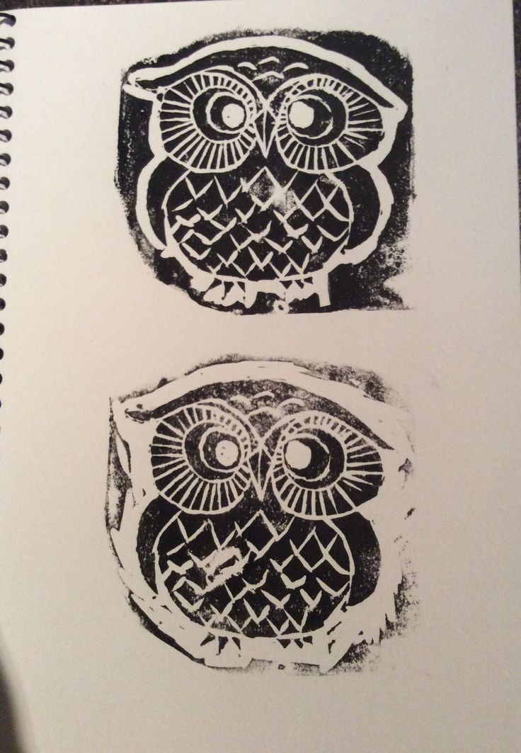 Little owl - rough print