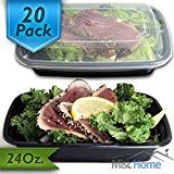 #8: [20 Pack] 24 Oz. Meal Prep Containers BPA Free Plastic Reusable Food Storage Container Microwave & Dishwasher Safe w/ Airtight Lid For Portion Control & Bento Box Lunch Box