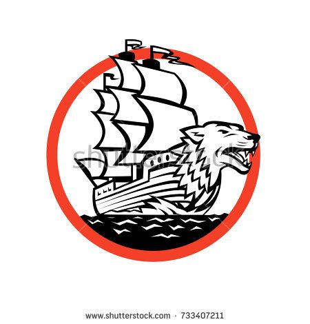 Retro style illustration of a Galleon sailing Ship with Wolf on Bow set inside circle on isolated background.  #galleon #retro #illustration