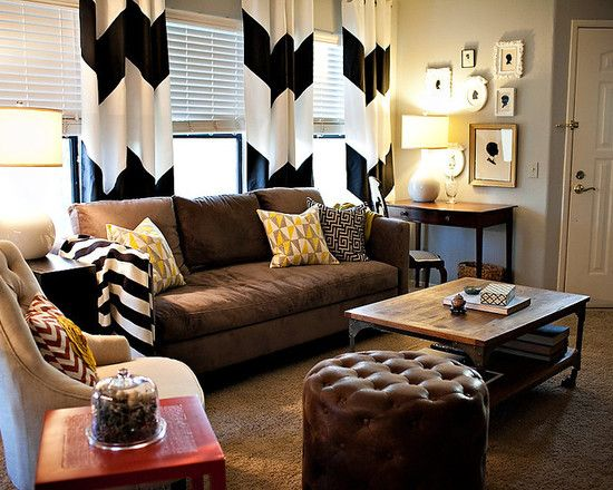 How To Fit Black And White With A Brown Couch Chevron Curtains Leather Sofa Soft Gray Walls Pops Of Color On The Pillows