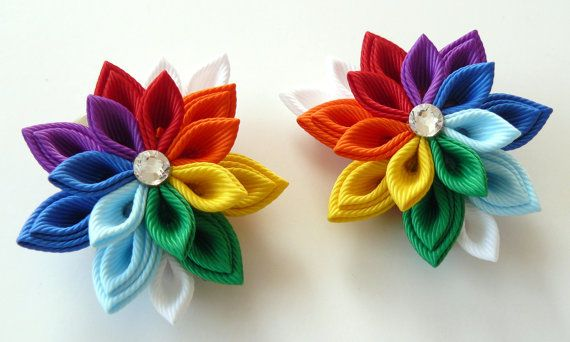 Kanzashi Fabric Flowers. Set of 2 hair clips. Rainbow by JuLVa