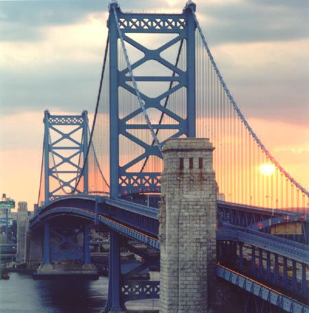 This bridge is beautiful. It's the Ben Franklin in Philadelphia, PA. Even after seeing this bridge for two and a half years, it still takes my breath away.