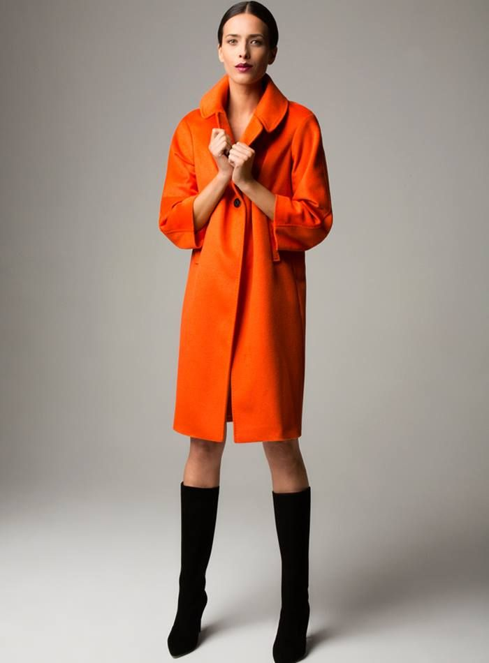Suzi Orange Cashmere Blend Coat