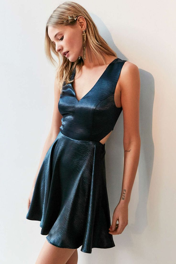 Silence + Noise Satin Shine Cutout Dress - Urban Outfitters