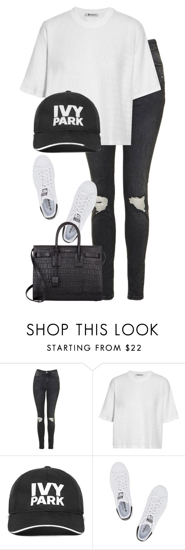 """""""Untitled #2757"""" by elenaday on Polyvore featuring Topshop, T By Alexander Wang, Ivy Park, adidas Originals and Yves Saint Laurent"""