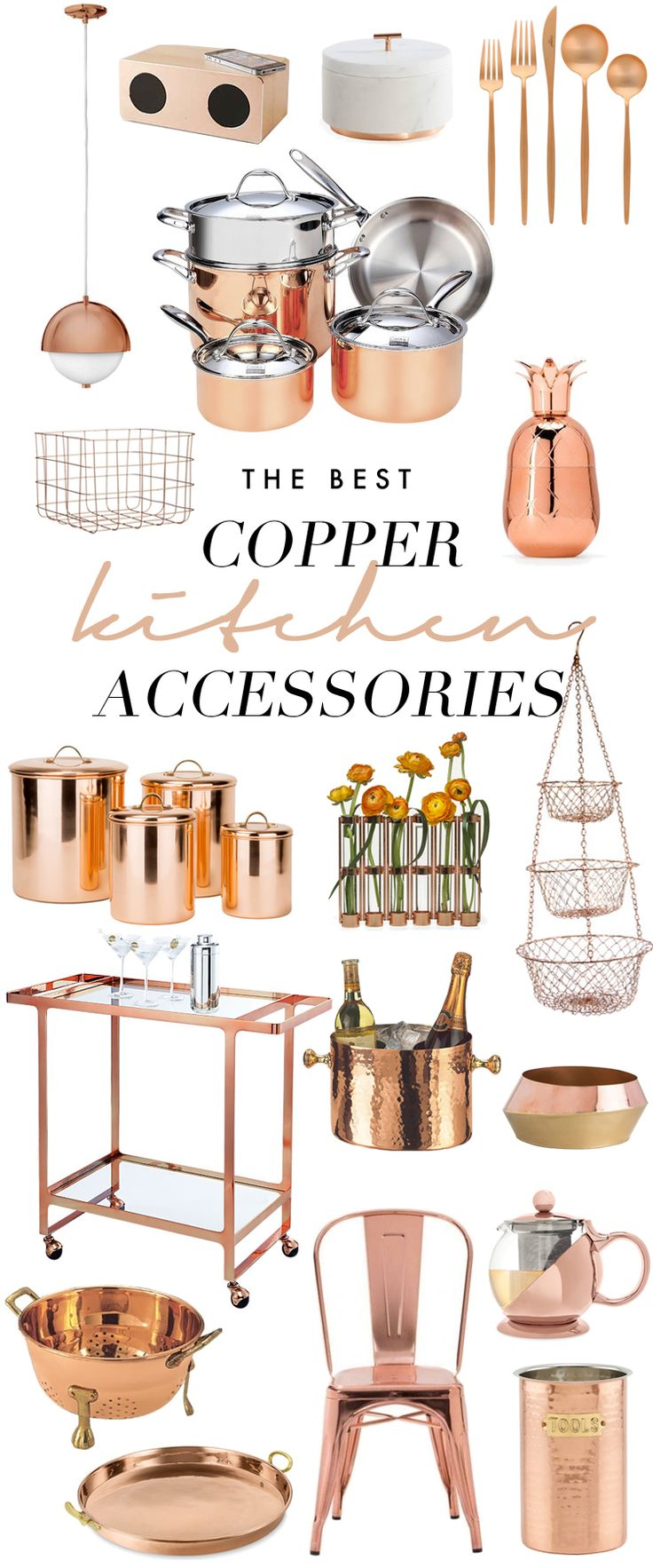 Farmhouse Decorating Ideas. The Best Copper Kitchen Accessories: https://www.sarahbaynes.com/copper-kitchen-accents/