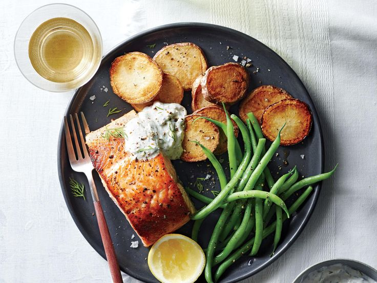 Salmon with Potatoes and Horseradish Sauce | Serving a hearty meal fresh from the sea is easier than you think. Pick from our favorite grilled, blackened, pan-fried, or even microwaved fish recipes.