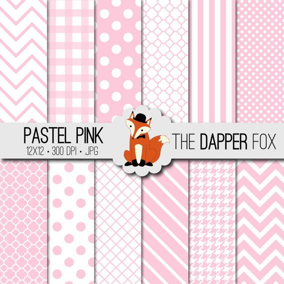 Pastel Pink Digital Paper Pack INSTANT by TheDapperFoxScraps