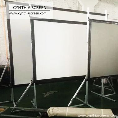 Brand New Flexible White PVC Screen Material Fast Fold Projector Screens With Flight Case For Large Stage 200-Inch