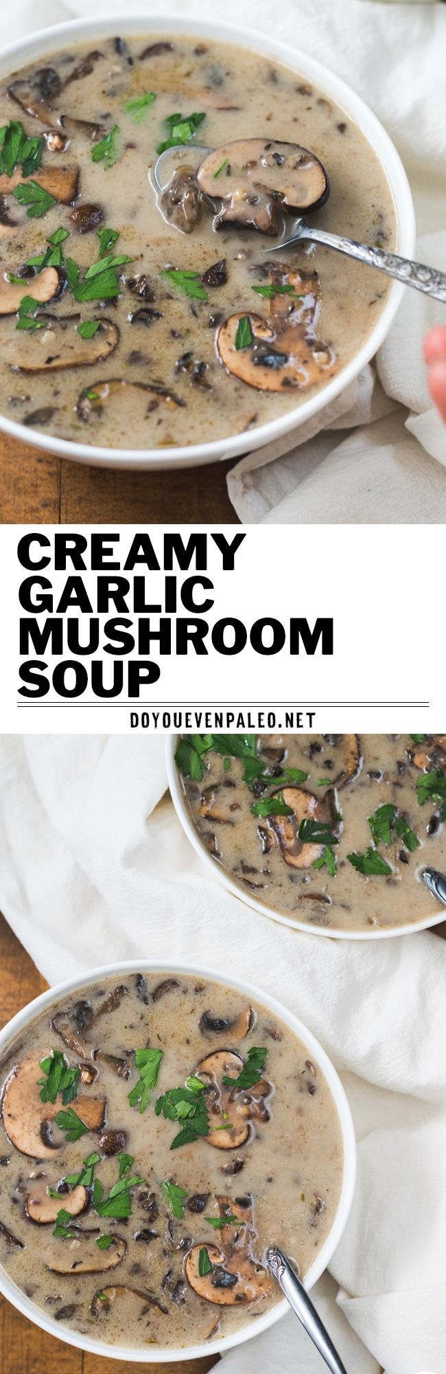 A dairy-free spin on classic mushroom soup. It's wholesome, rustic, and full. of. mushrooms! Paleo, gluten free, and Whole30. | DoYouEvenPaleo.net #paleo #glutenfree #dairyfree #whole30