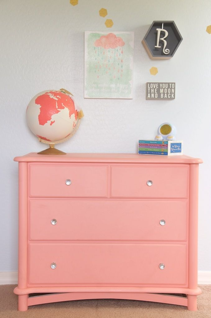 perfect coral dresser chalk paint girls room and a painted globe