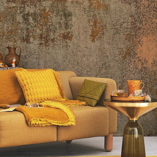 Yellow and mustard living room The mellow yellow trend teams beautifully with stronger flavours, while woven gold strands add the luxe effect to this modern living room.