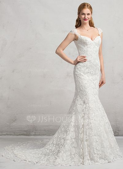 Trumpet/Mermaid Sweetheart Chapel Train Lace Up Cap Straps Sleeveless Church General Plus No Winter Spring Fall Ivory Lace Wedding Dress