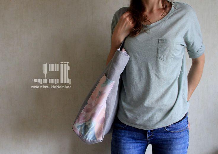 lniana torba zakupowa z pastelowymi kwiatami - zosiazlasu - Torby płócienne