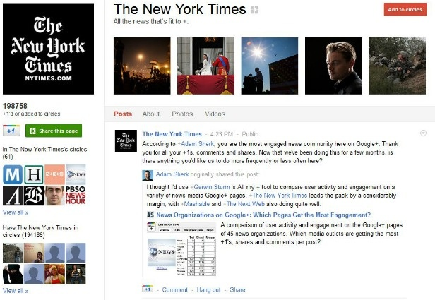 The Top 10 News Organizations With the Most Google+ Engagement