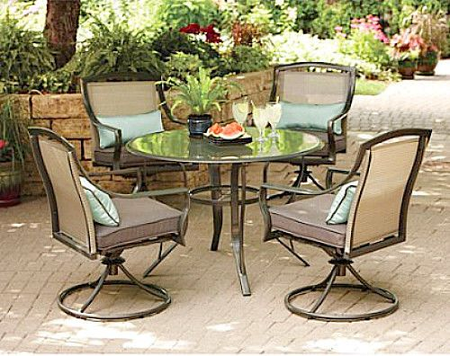 Outdoor Patio Dining Furniture Set 5Pc Round Glass Top Table & Swivel Chairs New #MainstaysDealsMarket