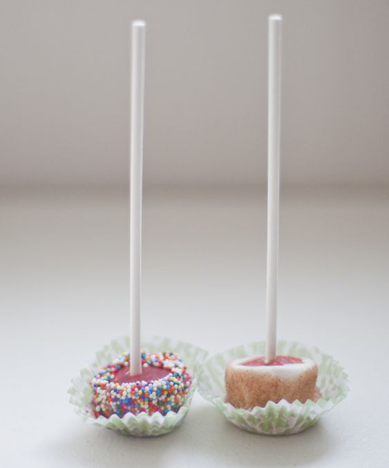 Bite-sized caramel apples on a stick.   Recipes   Pinterest