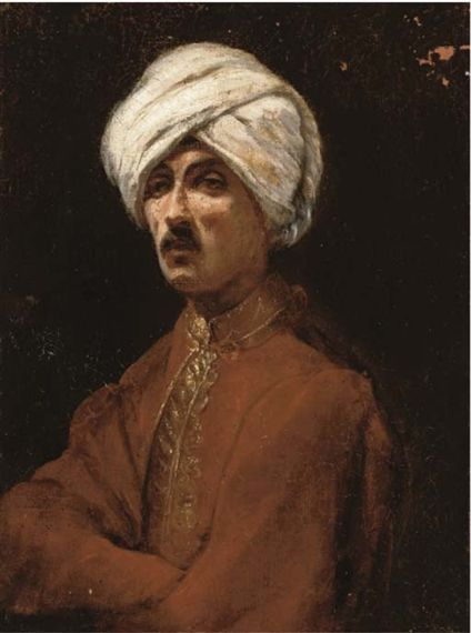 Circle Jean-Léon Gérôme Portrait of a gentleman, small bust-length, in Islamic costume oil on canvas  13½ x 10½ in. (34.3 x 26.7 cm.) | MutualArt