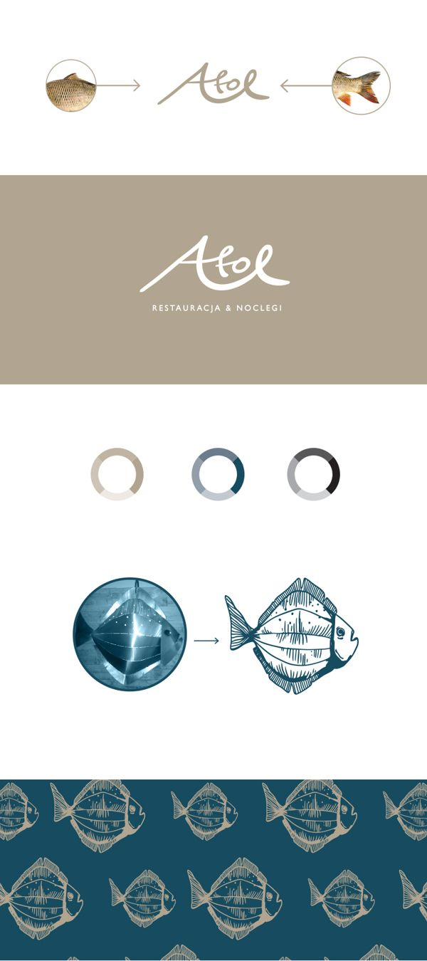 Visual identity / Fish Restaurant ATOL / 2014 by Agata Fotymska, via Behance
