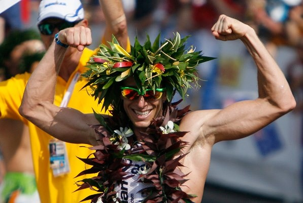 Pete Jacobs celebrates his win at the Ironman World Championship in Kona, Hawaii.