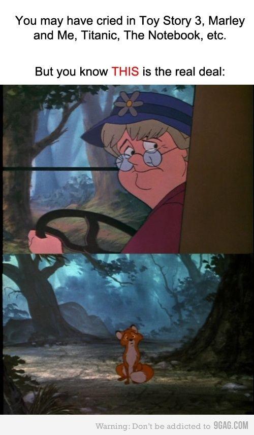 I cried soooo hard lol, I still would cry if I watched it! <3 fox and the hound.