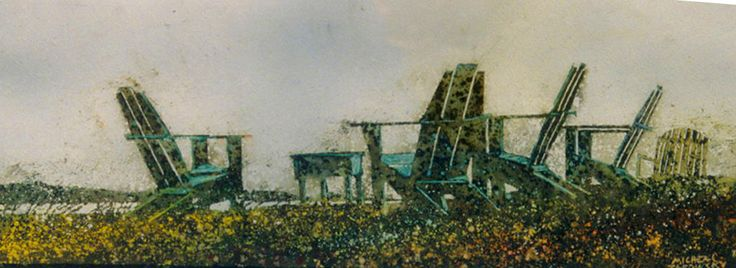 """the horizon 12 (fundy side) 10"""" x 30""""    micheal   zarowsky    watercolour on arches paper / private collection"""