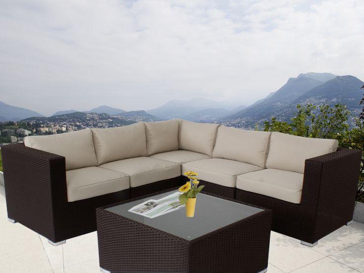 Brown Ellana Outdoor Corner Lounge Suite