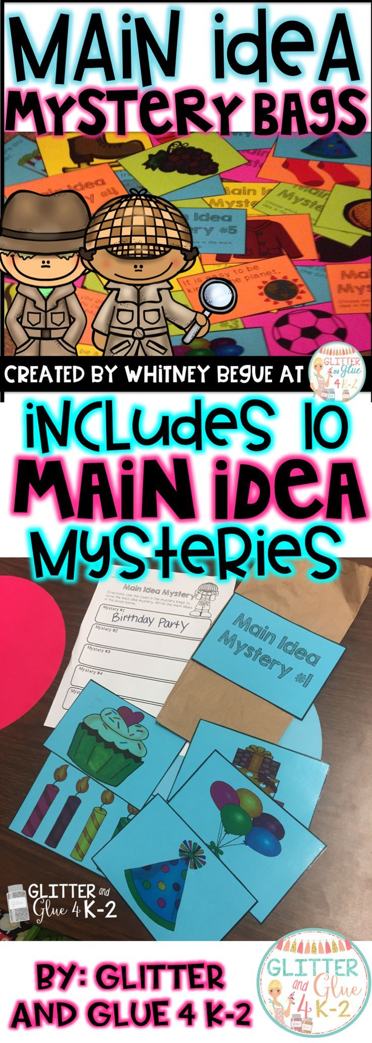 Teach your students about main idea with a main idea mystery! This product includes 10 different mystery bags. Each mystery bag includes 5 sets of cards.  Five of the mystery bags have only pictures so students will determine the main idea of the similar